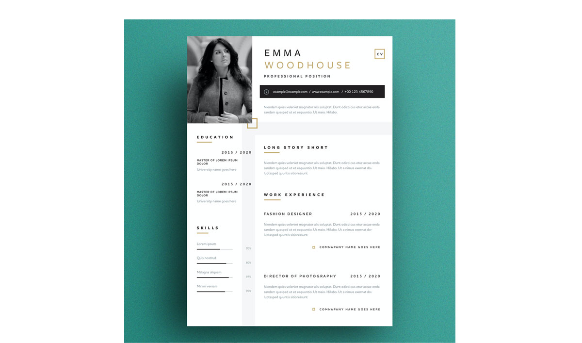classic look with geometric accents resume template